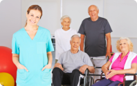 Caregiver with old patients