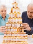 Old people are build a pyramid of medicine