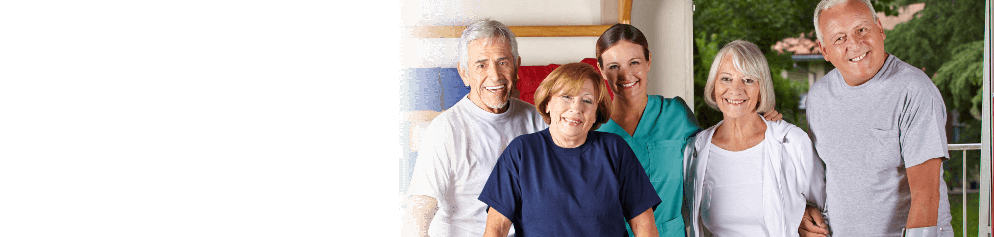 group of old people with their caregiver