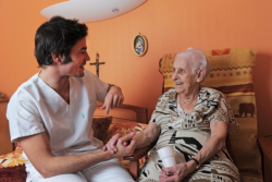 caregiver with his old patient